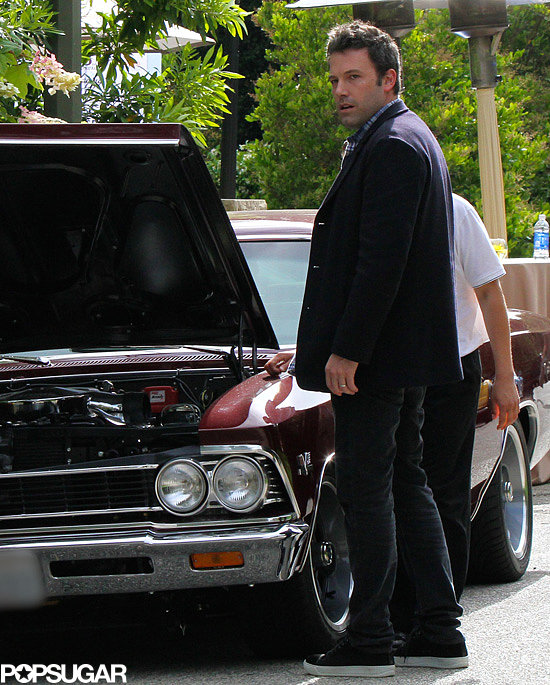 Ben Affleck gets his car jumped after a breakdown in LA.