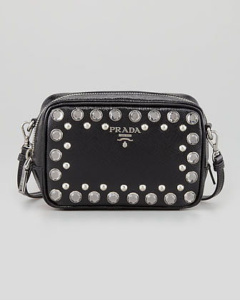 Prada Saffiano Studded Mini Zip Crossbody Bag, Black