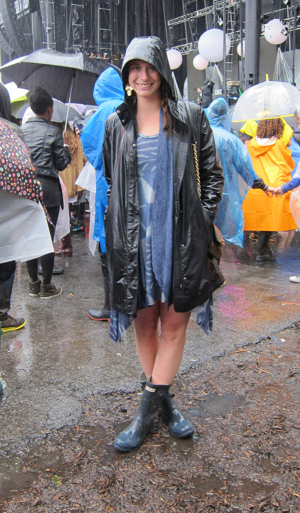 Done in a dark color, a hooded rain jacket can play the same styling role as your trusty parka. Source: Leah Melby