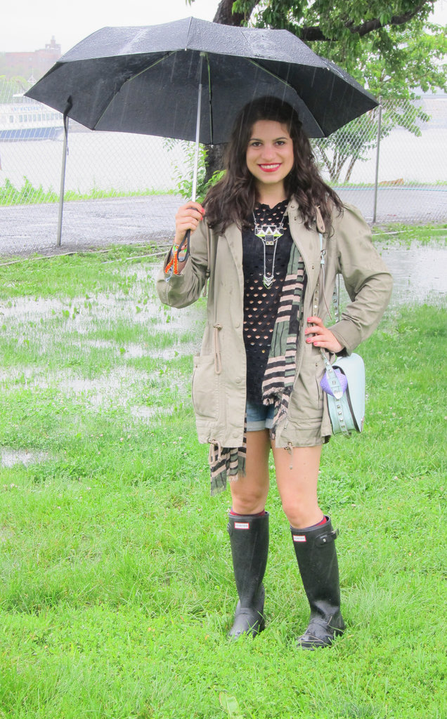 Summer showers can still be steamy. Pick light layers like cutoffs and perforated tops for under your raincoat.  Source: Leah Melby