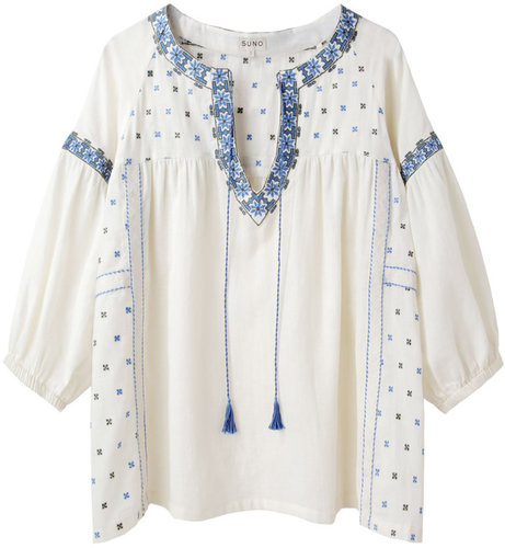 Suno / Embroidered Peasant Top