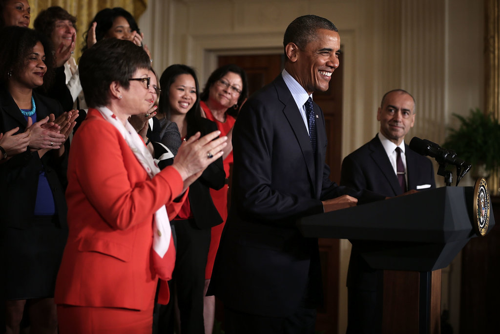 Obama commemorated the 50th anniversary of the Equal Pay Act while the audience looked on.