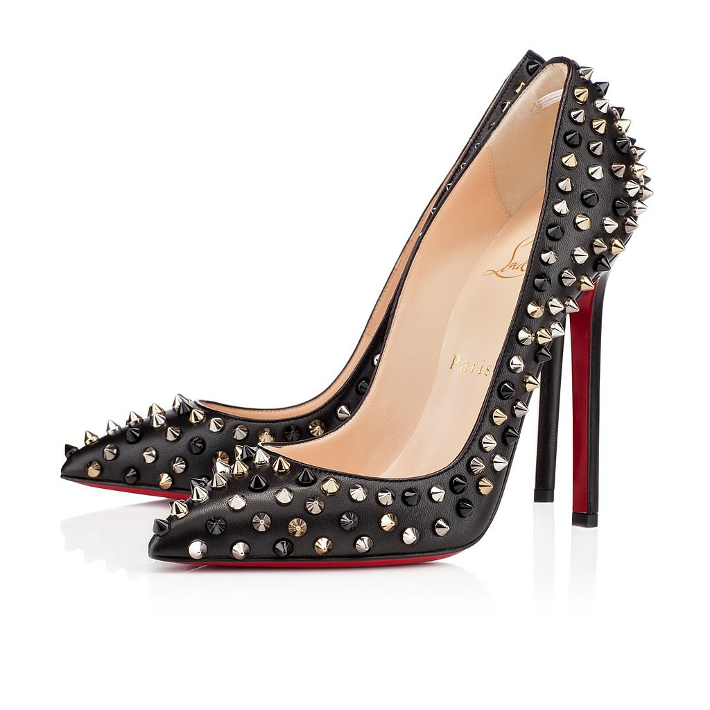 A Louboutin classic, the spiked Pigalle pump ($1,295) feels extra chic done in mismatched metals.