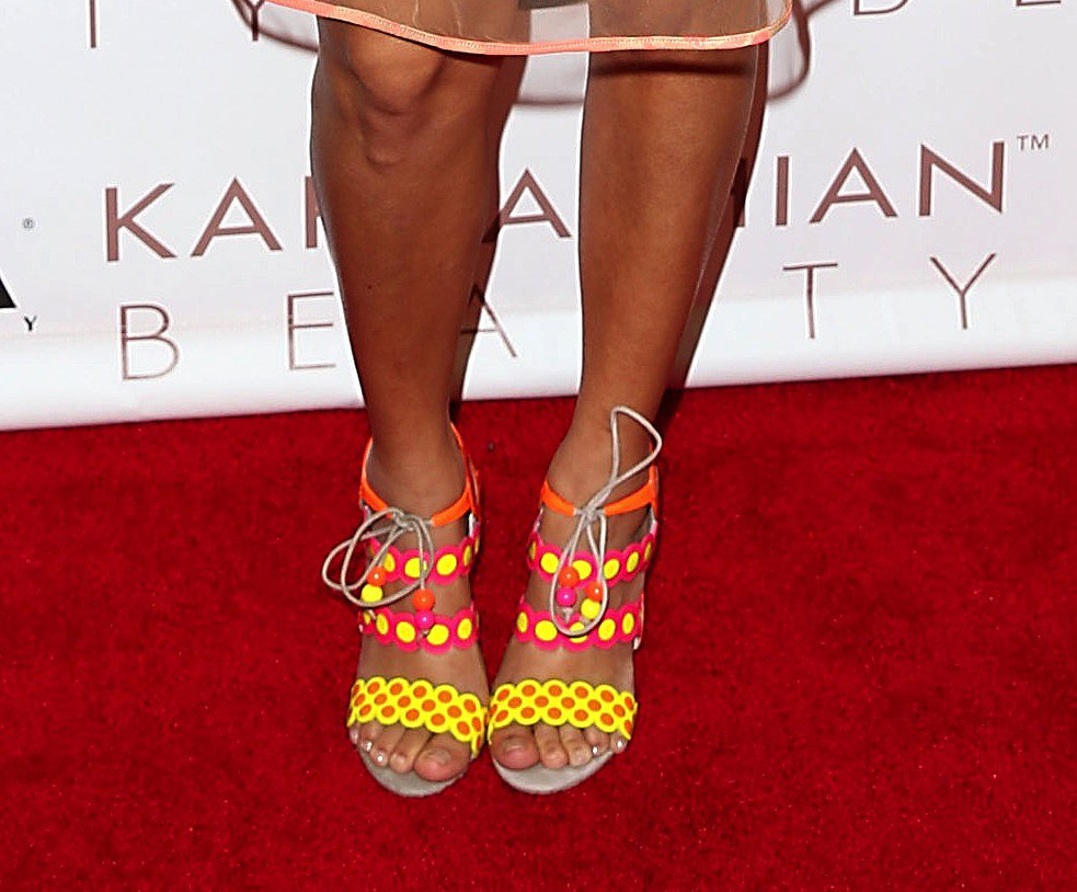 Talk about foot candy; Kourtney's sandals had fun written all over them.