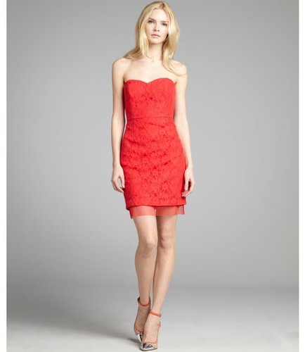 BCBGMAXAZRIA red berry cotton and lace strapless sweetheart 'Roselle' bustier dress
