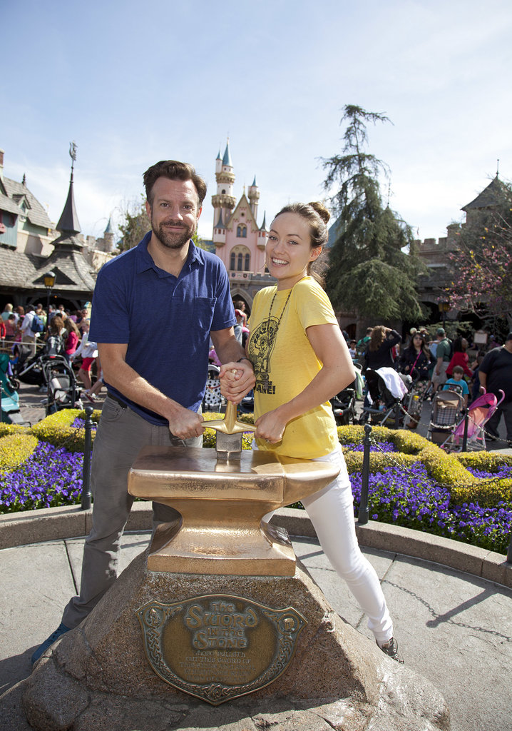 Jason Sudeikis and Olivia Wilde tried their hand at removing the Sword in the Stone during a March trip to Disneyland.