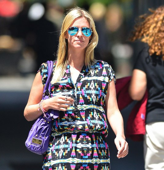 Nicky Hilton's printed dress found a trendy companion in her Ray-Ban blue mirrored aviators ($160).