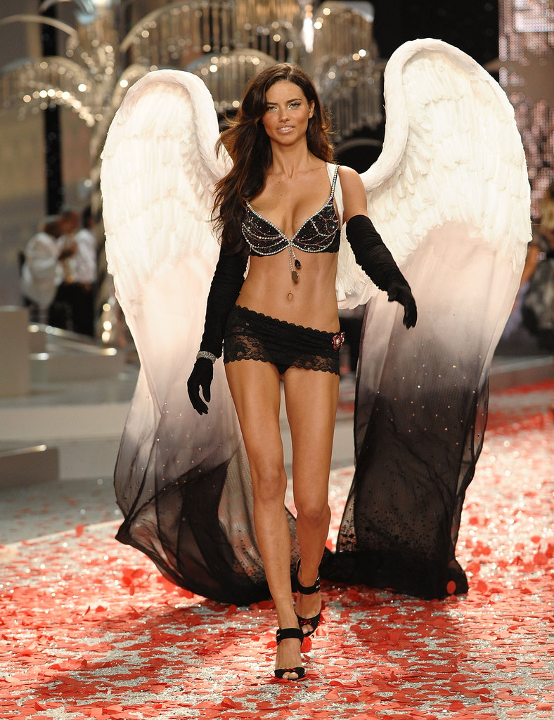 In Miami, Adriana Lima wore sexy lace lingerie for the Victoria's Secret Fashion Show in November 2008.