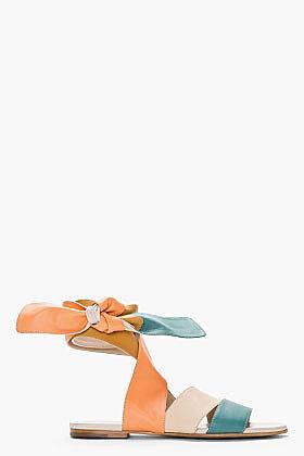 CHLOE Nude Colorblock Leather Wrap Sandals