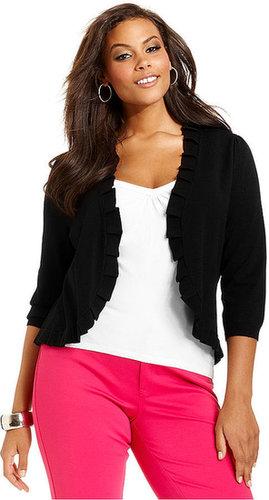 INC International Concepts Plus Size Sweater, Three-Quarter-Sleeve Pleated Cardigan