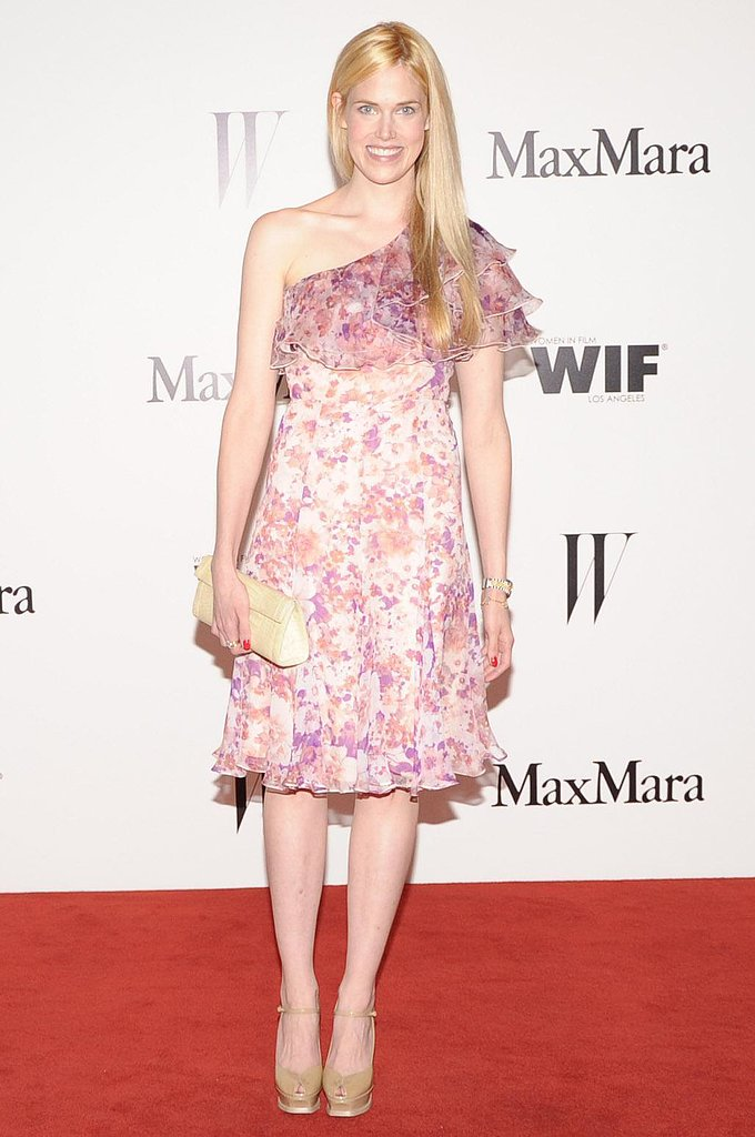 Byrdie Bell was dressed perfectly for a Summer party in a Max Mara pink-and-white, one-shoulder dress.  Source: Owen Kolasinski/BFAnyc.com