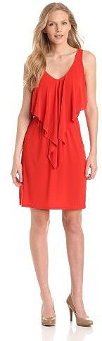 Tiana B Women's Solid Dress with Ruffle Front