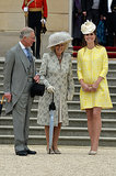 Kate joined Prince Charles and Camilla at Queen Elizabeth II's annual garden party in May 2013 in London.