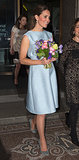 Kate Middleton went solo when she visited the National Portrait Gallery in London on April 24 in a powder-blue Emilia Wickstead frock.