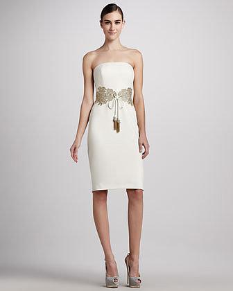 Badgley Mischka Embellished Tie-Waist Cocktail Dress