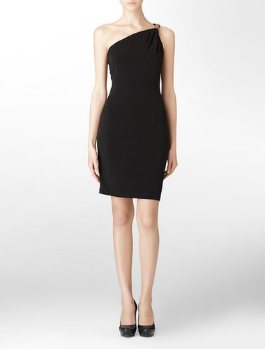 Black One Shoulder Draped Sleeveless Cocktail Dress