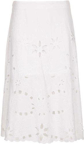 White Cut-Work Midi Skirt