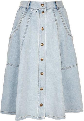 Denim Look Calf Skirt