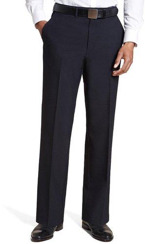 Straight Leg Flat Front Plain Trousers