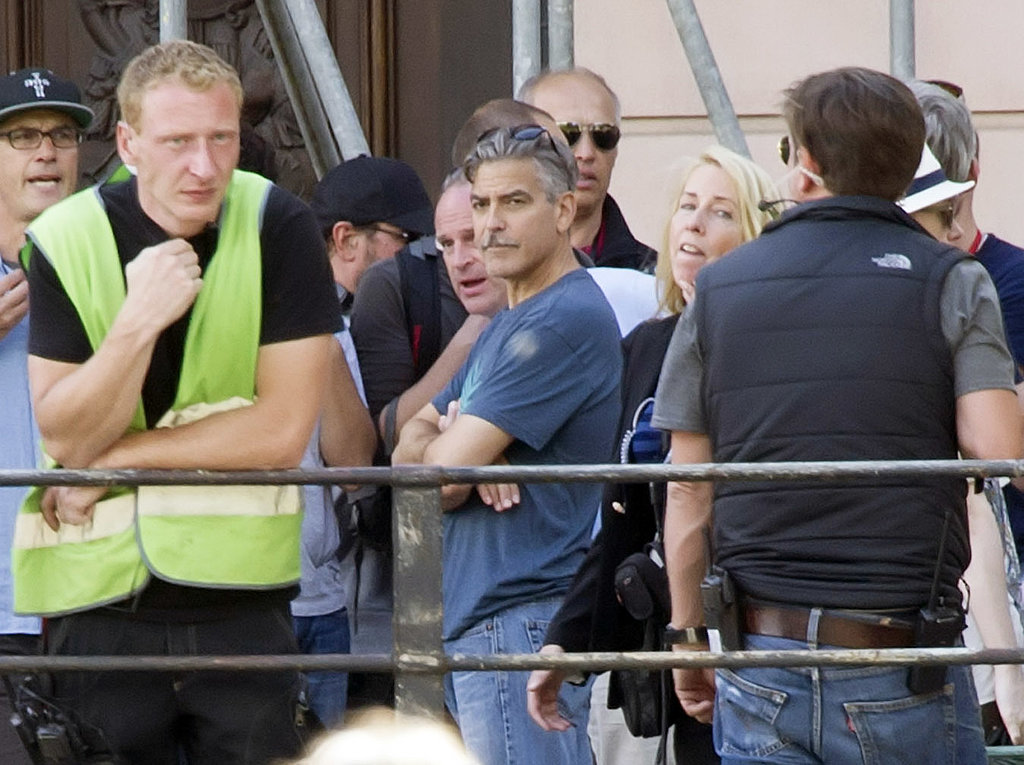 George Clooney looked casual on the set of The Monuments Men in Berlin, Germany, on Monday.