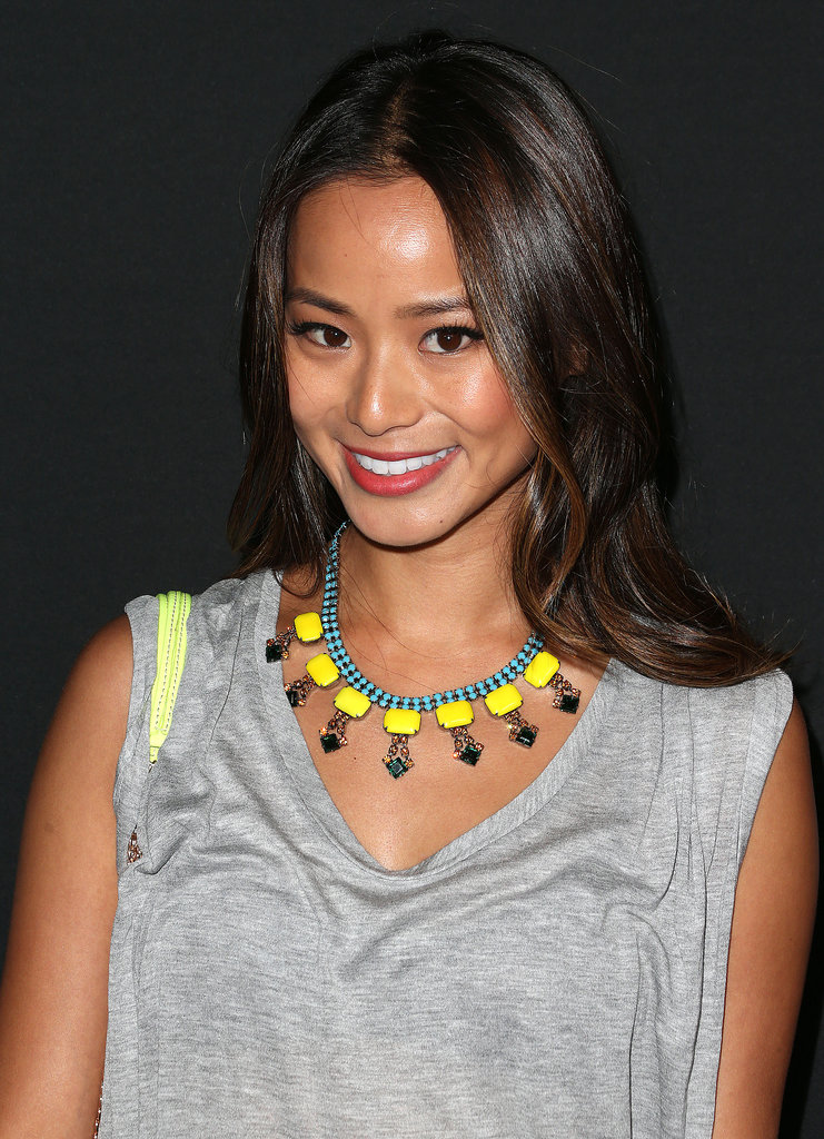 Jamie Chung stuck to her signature look: glossy hair, glowing skin, and a pop of color across her lips.