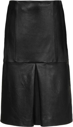 Waisted Leather Midi Skirt By Boutique