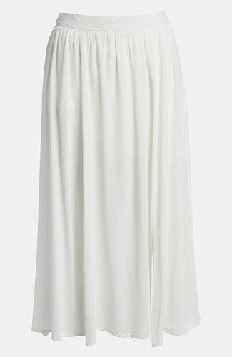 ASTR Slit Front Silk Blend Midi Skirt