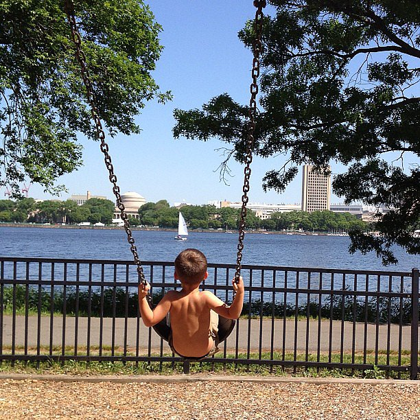 Ben Brady soaked up the sun (and the gorgeous views of the Charles River) with mama Gisele Bündchen watching over him.  Source: Instagram user giseleofficial