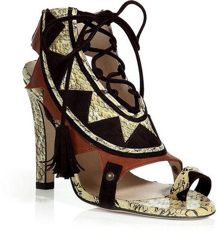 Chrissie Morris Multicolor Python and Suede Corset Sandals