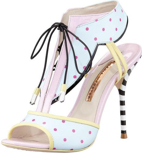 Sophia Webster Leilou Polka-Dot T-Strap Sandal, Blue/Pink