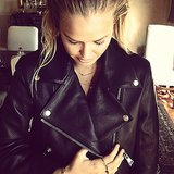Lara Bingle showed off a very luxe leather jacket by Acne, and cool slicked-back hair. Source: Instagram user mslbingle