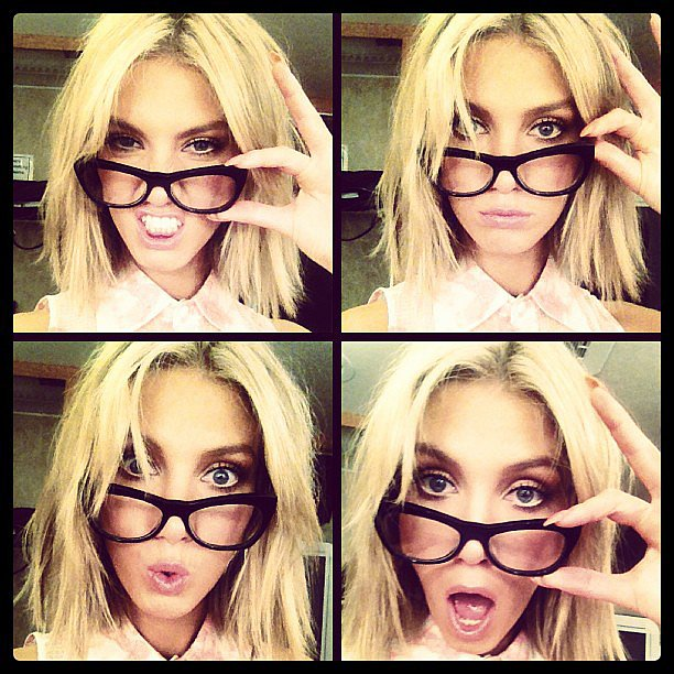 Delta Goodrem tried her best to pull dorky faces, but just ended up looking cool as ever. Source: Instagram user deltagoodrem