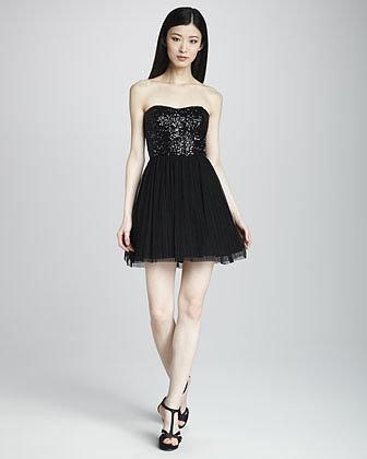 Aidan Mattox Sequin-Bodice Cocktail Dress
