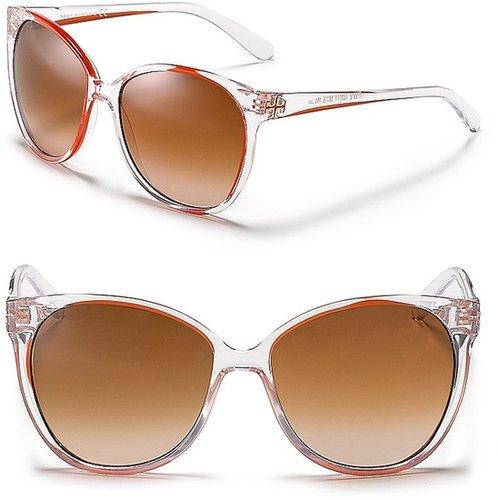 Tory Burch Polarized Round Cat Eye Inset Sunglasses