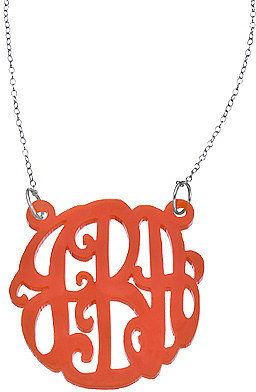 Orange Acrylic Script Cutout 1 12 Inch Monogram Necklace