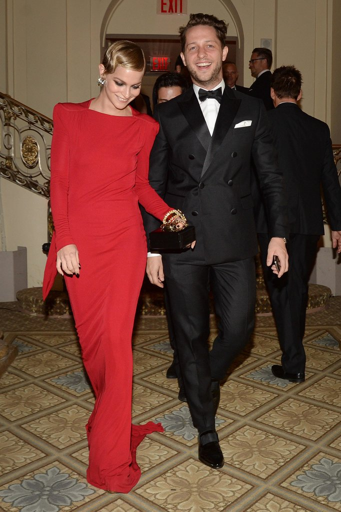 A scarlet-red-dress-clad Leigh Lezark made an entrance with Derek Blasberg. Source: Matteo Prandoni/BFAnyc.com
