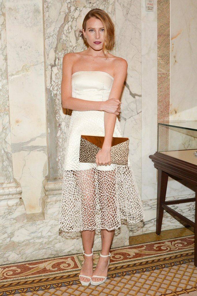 Dree Hemingway looked ethereal in a see-through white number and coordinating ankle-strap heels. Source: Matteo Prandoni/BFAnyc.com