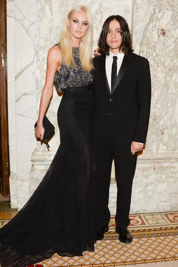 A blond Candice Swanepoel posed arm in arm with Olivier Theyskens. Source: Matteo Prandoni/BFAnyc.com