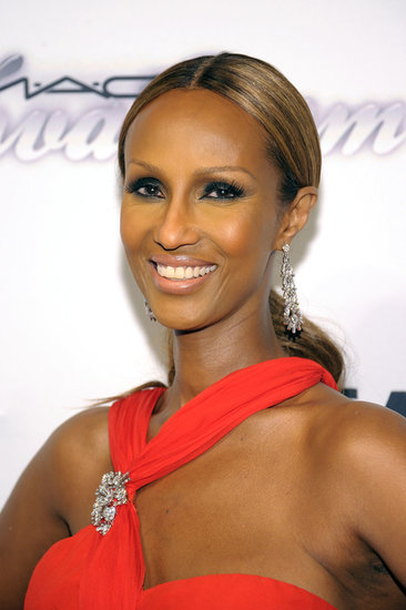 The gorgeous Iman opted for a sleek low ponytail and a smoky-eye makeup look.
