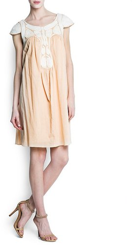Embroidered cord cotton dress