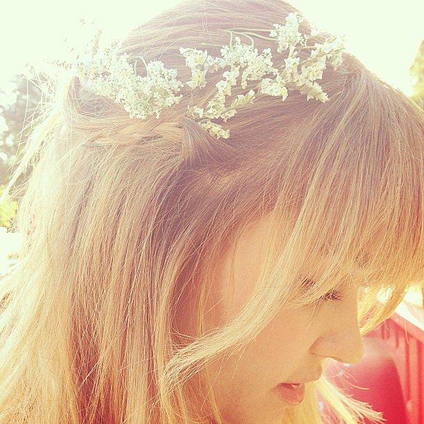 Lauren Conrad dressed up her braid with some delicate flowers.  Source: Instagram user laurenconrad