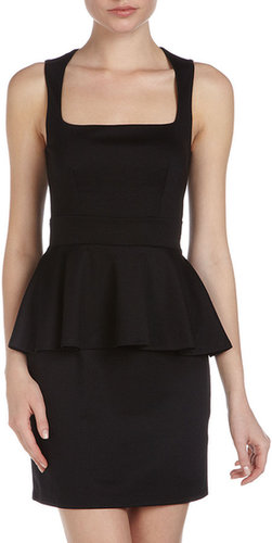 Casual Couture Square-Neck Peplum Dress, Black