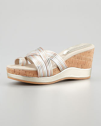 Donald J. Pliner Lettie Metallic Wedge Sandal, Rose Gold/Multi