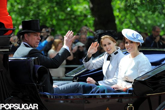 Princesses Beatrice and Eugenie rode in a carriage with their father, the Duke of York.