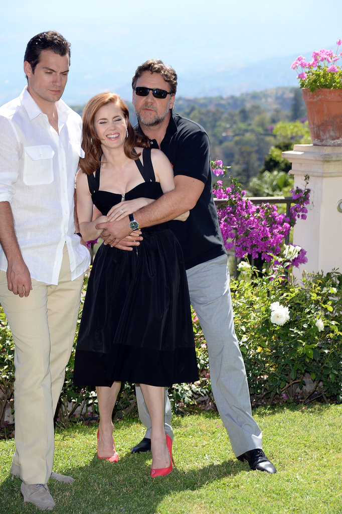 Russell Crowe hugged Amy Adams on Saturday.