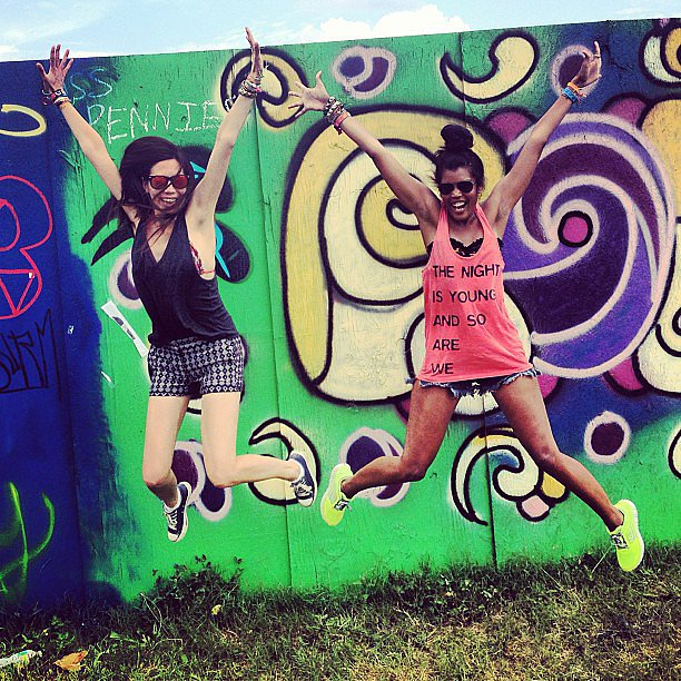We couldn't resist getting some air in front of one of our favorite murals to commemorate the start of day four. Source: Instagram user popsugarfashion