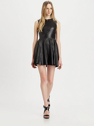 Diane von Furstenberg Jeannie Fit-and-Flare Leather Combo Dress
