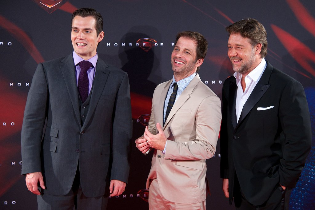 Henry Cavill, Zack Snyder, and Russell Crowe arrived at the Man of Steel premiere in Madrid on Monday.