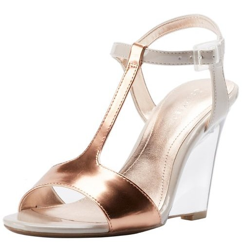 If you're looking to shine up your feet, may we suggest these Calvin Klein Mattie mirror metallic wedge sandals ($63-$87, originally $99).