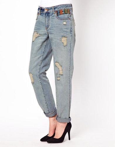 ASOS  Slim Boyfriend Jeans in Vintage Wash with Aztec Trim